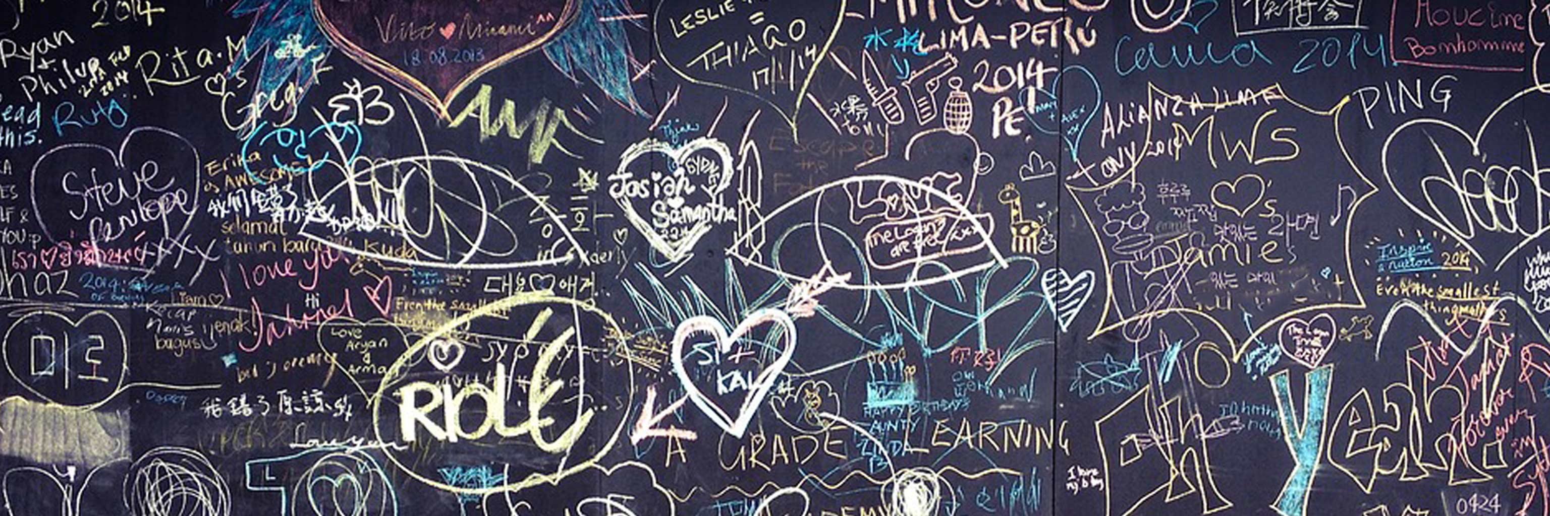 blackboard of signatures from students