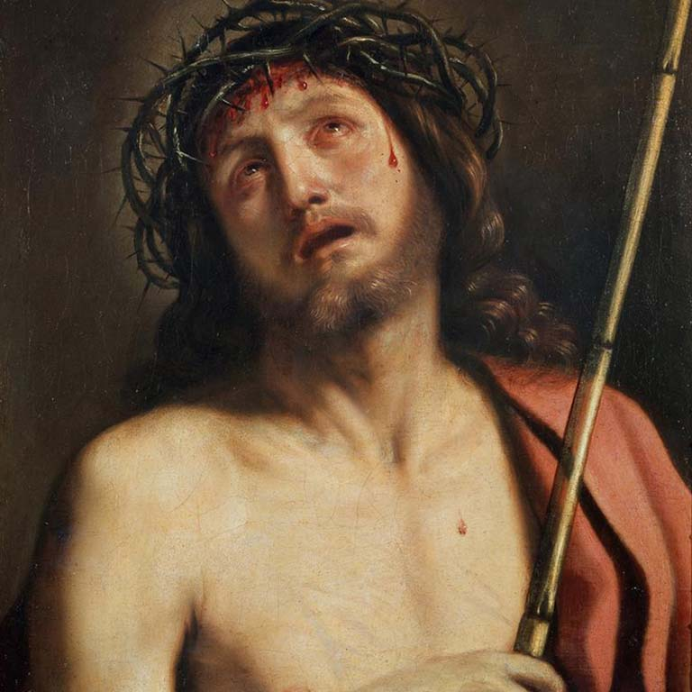 painting of Jesus Christ wearing thorn crown
