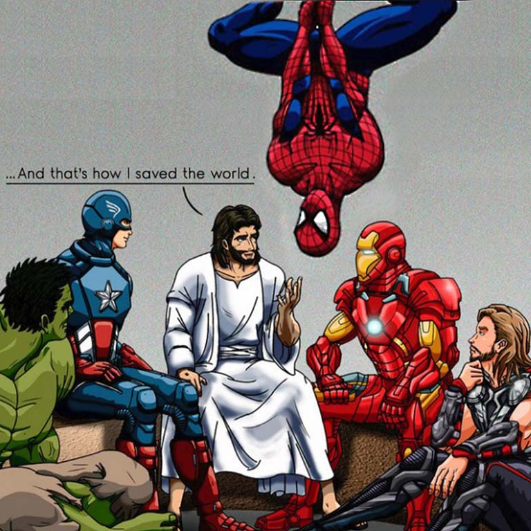 cartoon Marvel avengers sit in a circle listening to cartoon Jesus Christ