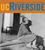 UC Riverside title and woman sitting on step